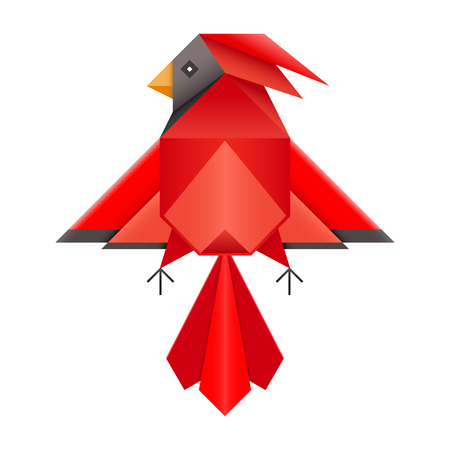 origami bird: Abstract geometric red cardinal bird. Triangle low polygon design northern cardinal. Folded paper Japanese origami phoenix. Red cardinal or phoenix logo symbol pictogram.