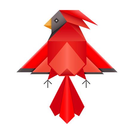ave fenix: Geom�trica p�jaro cardinal rojo abstracto. Tri�ngulo de dise�o de bajo pol�gono cardinal norte. Papel doblado f�nix origami japon�s. Cardenal rojo o logotipo phoenix s�mbolo pictograma. Vectores