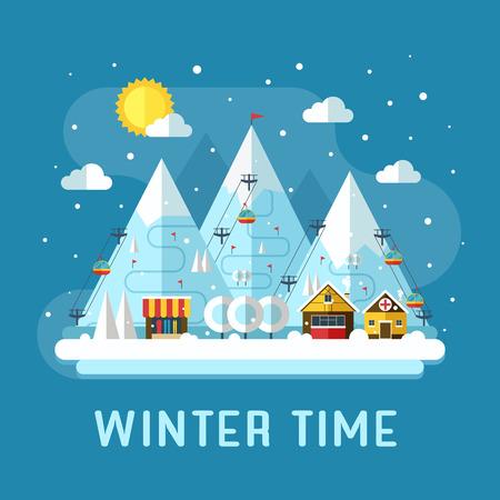 estado del tiempo: Vacaciones del invierno paisaje llano. Escena concepto de resort de esquí de montaña. Horario de invierno paisaje en diseño plano con funiculares, montañas, tienda medcine, Hous y nieve. Paisaje tiempo de nieve.