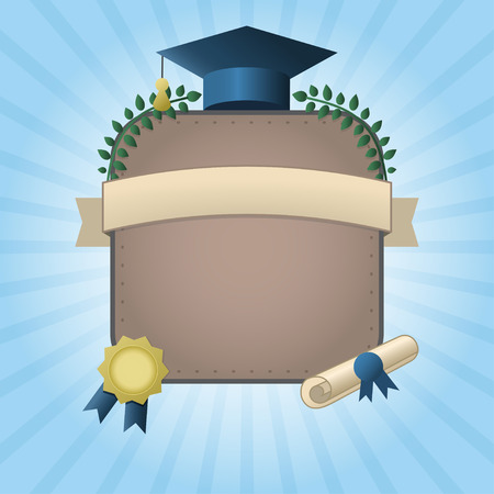 inscription: Vector illustration of graduation certificate or postcard. Invitation template with hat, scroll, wraith and seal on rising sun background. Graduation card with place for text Illustration