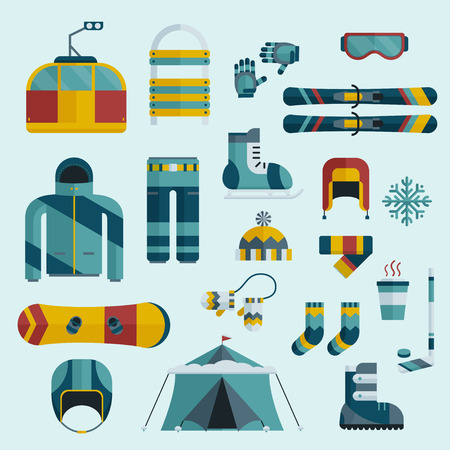 hockey equipment: Winter sports gear collection. Outdoor icon set in flat style. Winter sports pictogram extreme activity lifestyle. Snowboard suit, skis, sled, funicular, coffee cup, snowflake, hat, board, skates, helmet and tent elements.