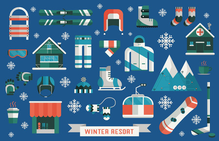 Winter sports gear pictogram collection. Winter resort icon set. Outdoor winter activity lifestyle concept icons. Snowboard suit, skis, sled, funicular, coffee cup, snowflake, hat, board, skates, helmet and tent elements.