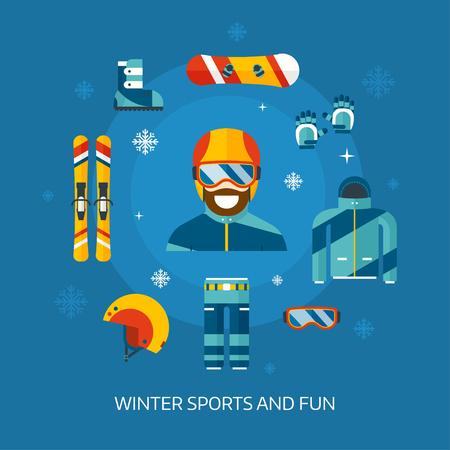 겨울 활동 평면 아이콘. 겨울 스포츠 키트. 겨울 스포츠 기어 개념 보더 남자. 스노우 보드 재킷, 보드, 헬멧, 고글, 하늘과 스노 남자 웹 아이콘을 설정