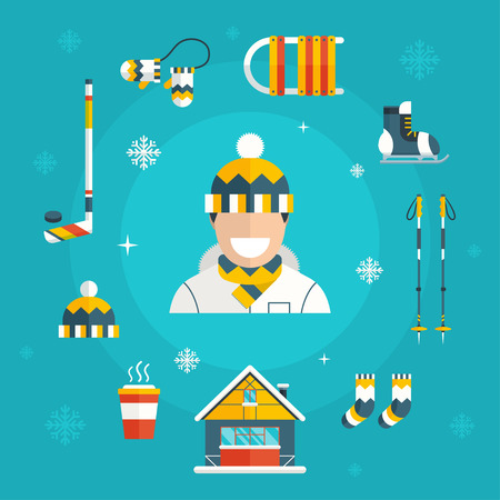 warm house: Winter activity flat icons. Winter sports elements. Man with winter vacation items concept. Warm hat, mittens, coffee, sleds, skates, ski sticks and winter house web icon set. Illustration