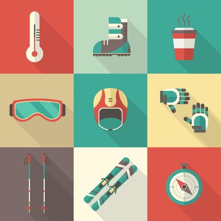 ski goggles: Winter skiing kit. Ski icon set. Winter resort and sports pictogram collection. Outdoor activity ski gear. Ski long shadow flat icons. Illustration