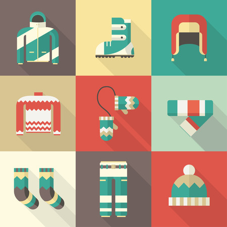 Winter clothes and accessories long shadow icons. Winter sportswear and warm dress. Winter fun and activity clothing flat design vector pictogram collection. Ilustrace
