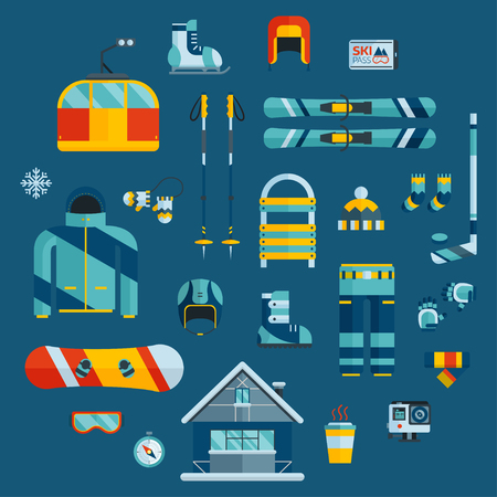 sports gear: Winter sports kit pictogram collection. Winter resort icon set. Outdoor winter activity flat icons. Winter sports gear. Snowboarder jacket, board, action camera, wear and item web icons