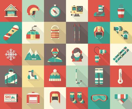 겨울 스포츠 그림 모음. 겨울 리조트 아이콘을 설정합니다. 긴 그림자와 함께 야외 겨울 활동 평면 아이콘. 웹 및 장치 용 겨울 스포츠 벡터 요소. 스노  일러스트