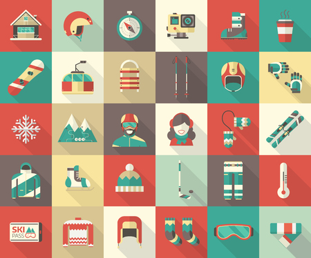 Winter sports pictogram collection. Winter resort icon set. Outdoor winter activity flat icons with long shadow. Winter sports vector elements for web and devices. Snowboarder man and woman.