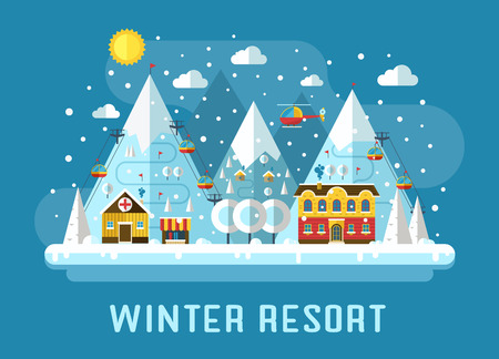 alps: Ski resort in mountains. Winter time flat landscape. Snow mountains, country hotel, funiculars, hospital and rescuers helicopter in forest area. Winter vacation flat landscape.
