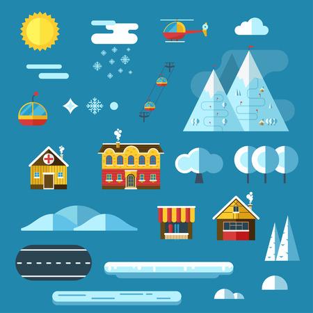creador: Winter Collection Resort creador. conjunto abstracto iconos del constructor paisaje. Los signos de mapa, juego, textura. hotel de monta�a, chalet, funicular, r�o, elementos de dise�o de sol.