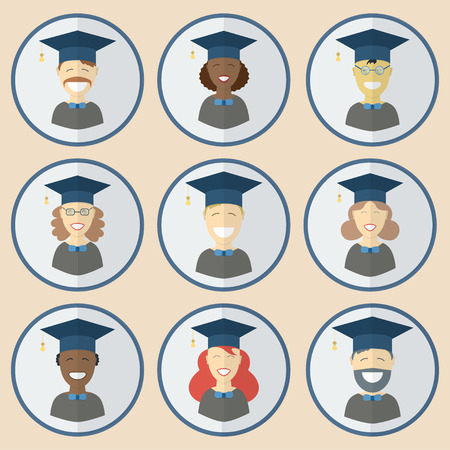 multinational: Man and woman graduates in gown and hat. Graduation girl and guy education icon set collection in flat style. Different races students of the world portraits multinational union concept.