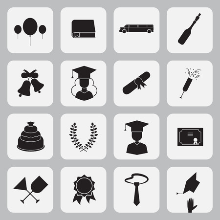 Graduation vector icon set of exam celebration elements in flat design . Man and woman graduates in hats and isolated celebrating education party outline symbols, black and white outlines Ilustrace
