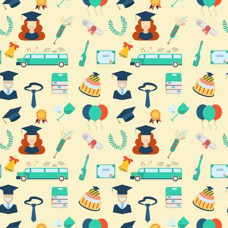 gowns: Graduation celebration elements seamless background. Man and woman graduates in hats and gowns, balloons, bell, limousine, cake, diploma and wreath pattern wallpaper backdrop Illustration