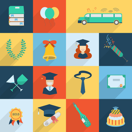 alumnus: Graduation vector icon set of exam celebration elements in flat design with long shadows. Man and woman graduates in hats and isolated celebrating education party symbols