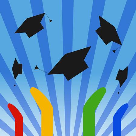 toss: Graduation hats toss. Graduates celebrating throwing colorful graduation caps in the air and rising sun. Education unites success concept.