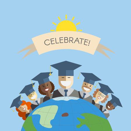 cartoon graduation: Ilustraci�n de diferentes razas de hombres y mujeres graduados de pie en la parte superior de la tierra. concepto de graduaci�n mundo multinacional. idea de la educaci�n sindical