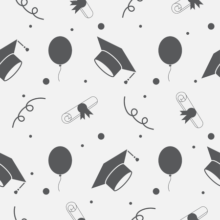 tossing: Seamless vector backdrop of tossing graduation caps, balloons and diplomas pattern. Can be used for web page backgrounds, pattern fills Illustration