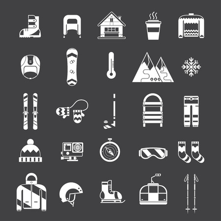 Winter sports and fun outline icon collection. Winter resort silhoutte pictogram set. Outdoor winter activity lifestyle concept icons. Snowboard suit, skis, sled, funicular, chalet, snowflake, hat, board, skates, helmet and mittens elements.