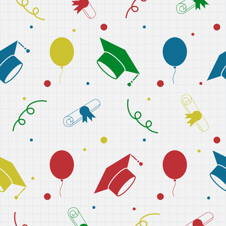 Seamless vector backdrop of tossing graduation caps, balloons and diplomas pattern. Education celebration symbols on repeatin cells. Can be used for web page backgrounds, pattern fills Çizim