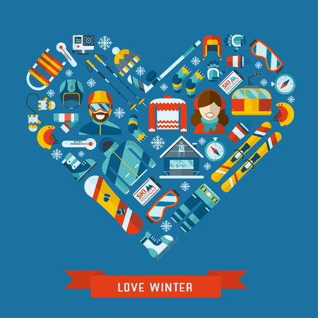 Winter activity flat icon in heart shape. Love winter concept banner template. WInter sports pictogram collection. Winter resort, games, fun and gear vector icon set.