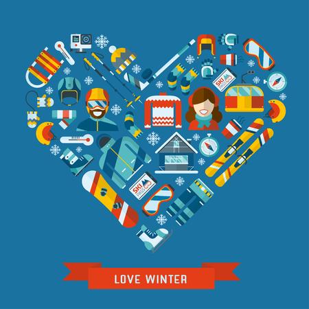 겨울 활동 평면 아이콘 심장 모양입니다. 겨울 개념 배너 템플릿을 사랑 해요. 겨울 스포츠 픽토그램 컬렉션. 겨울 리조트, 게임, 재미 및 기어 벡터 아