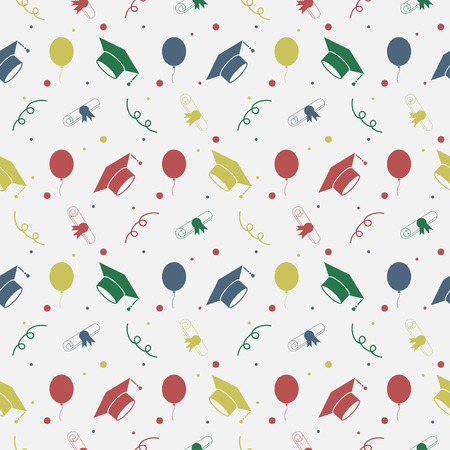 Seamless vector backdrop of tossing graduation caps, balloons and diplomas pattern. Education celebration symbols on repeatin cells. Can be used for web page backgrounds, pattern fills 矢量图像