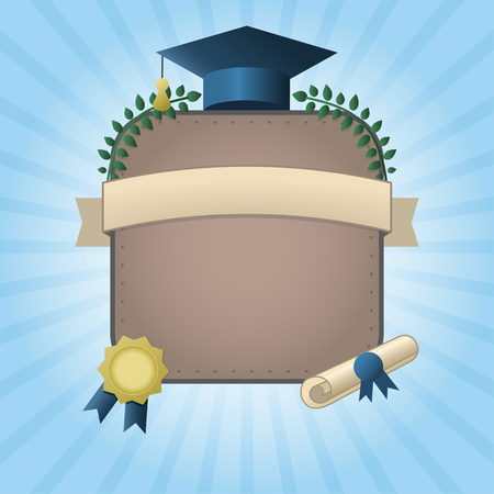 Vector illustration of graduation certificate or postcard. Invitation template with hat, scroll, wreath and seal on rising sun background. Graduation card with place for text