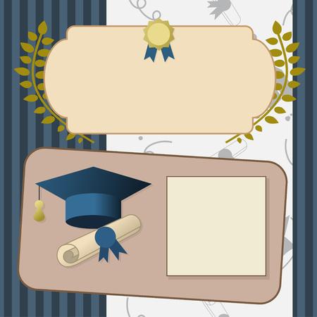 导航金毕业证明或明信片的例证。庆祝党邀请葡萄酒模板的毕业生与帽子,纸卷和封印。