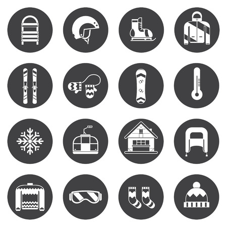 resorts: Winter sports and fun outline icon collection. Winter resort silhoutte pictogram set. Outdoor winter activity lifestyle concept icons. Snowboard suit, skis, sled, funicular, chalet, snowflake, hat, board, skates, helmet and mittens elements.