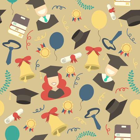 graduacion ni�os: elementos de celebraci�n de la graduaci�n fondo sin fisuras. Hombre y mujer los graduados en los sombreros y los vestidos, los globos, campana, limusina, torta, diploma y la educaci�n corona de flores patr�n de papel tapiz tel�n de fondo