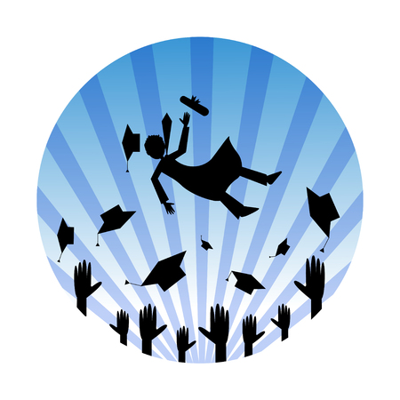 hands in: Graduation celebrating. Silhouettes of hands throwing hats in the air and happy graduation guy jumping high