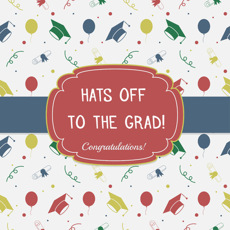 tossing: Vector illustration of colorful graduation invitation or certificate. Celebrating postcard template background with tossing hats, baloons, diplomas and ribbons. Greeting card
