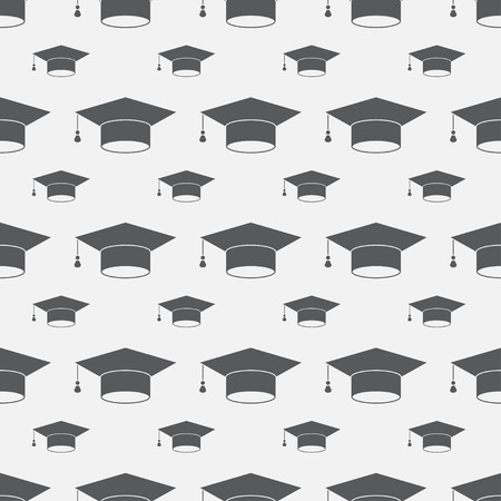 higher education: Graduation cap sign icon seamless background. Higher education symbol pattern. Black texture backdrop. Vector illustration
