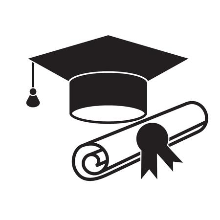 Czapka Graduation i dyplom czarny tkanina ikona. Wyższy symbol edukacyjny na białym tle
