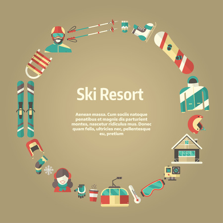 sports form: Winter concept background. Winter activity flat vector icons in circle form. Sports, fun and leisure pictogram template card. Snowboard and ski resort invitation blank with place for text Illustration