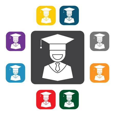 higher education: Guy in graduation cap sign icon. Higher education symbol buttons in different colors, graduation icon set