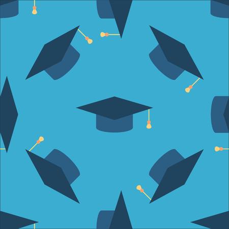graduacion de universidad: casquillo de la graduación icono de señal de fondo sin fisuras. Superior patrón de símbolos educación. telón de fondo azul con textura sombreros lanzando. ilustración vectorial
