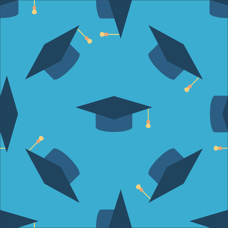 tossing: Graduation cap sign icon seamless background. Higher education symbol pattern. Blue texture backdrop with tossing hats. Vector illustration