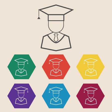 higher education: Guy in graduation cap sign icon. Higher education symbol buttons in different colors Illustration
