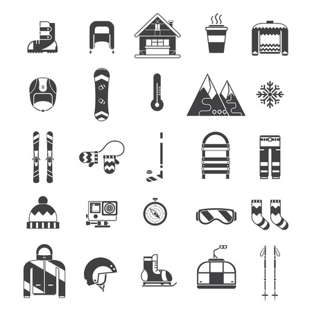 Winter sports and fun outline icon collection. Winter resort pictogram set. Outdoor winter activity lifestyle concept icons. Snowboard suit, skis, sled, funicular, coffee cup, snowflake, hat, board, skates, helmet and house elements.