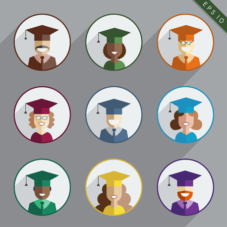 multinational: Men and women graduates of the world in colorful gowns and hats. Graduation people vector icon set in flat style. Multinational guy and girl students educational isolated symbols. Illustration