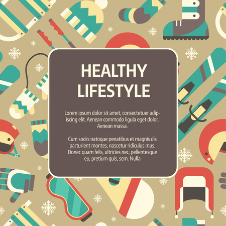 sports form: Winter healthy lifestyle concept background. Winter activity flat vector icons in circle form. Sports, fun and leisure pictogram template card. Invitation blank with place for text