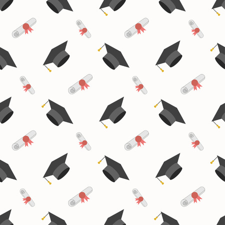 higher education: Graduation cap and diploma scroll seamless background. Higher education celebration anniversary symbol pattern. Black texture backdrop. Vector illustration