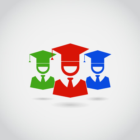 the alumnus: Smiling guys in graduation cap sign icon. Higher education symbol pictogram buttons in red, green, blue color isolated on white background. Happy and joy emotion concept. Illustration