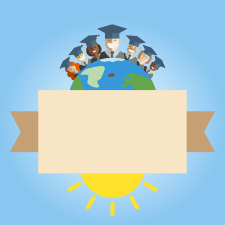 multinational: llustration of different races men and women graduates standing on the top of the earth. Multinational world graduation concept. Back to school union idea template with place for text.
