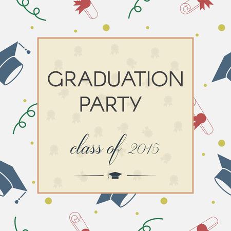 五颜六色的毕业邀请或证明的传染媒介例证。庆祝与折腾的帽子,鲍龙,文凭和丝带的明信片模板背景。