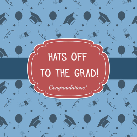 tossing: Vector illustration of colorful graduation invitation or certificate. Education celebrating postcard template background with tossing hats, baloons, diplomas and ribbons. Illustration