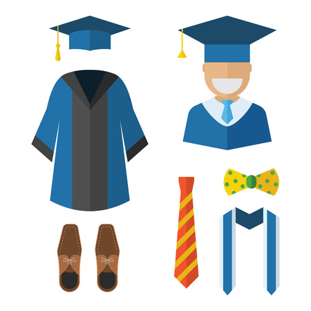 bowtie: Graduation clothes and accessories set. Graduate gown, tie, ribbon, shoes, bow-tie and hat with graduation happy guy vector icon isolated on white. Graduation ceremony dress wear man set.