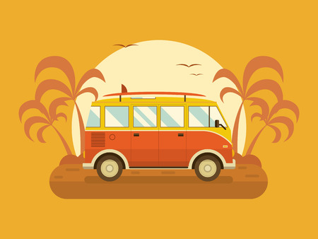 coach bus: Surfing bus on palm beach. Travel coach summertime concept. Travel omnibus old vintage red color with surfing board on summer coast. Tourist bus family summer trip.